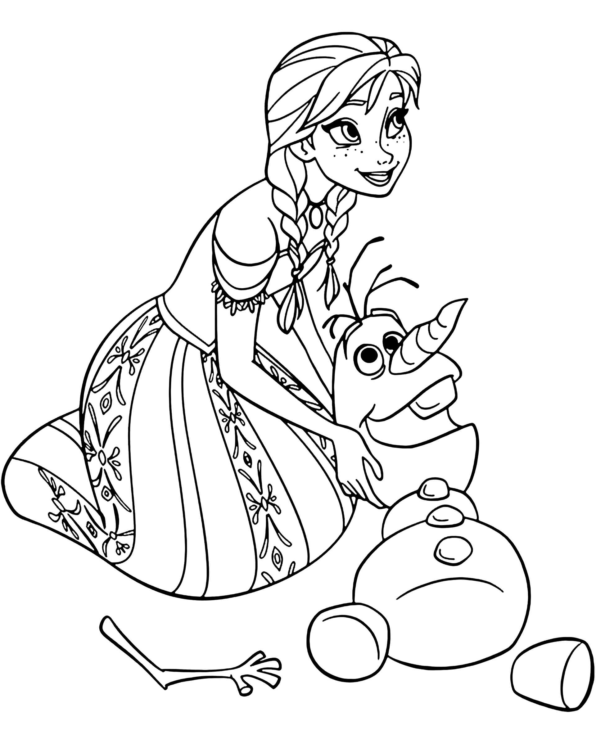 Olaf And Anna Coloring Page