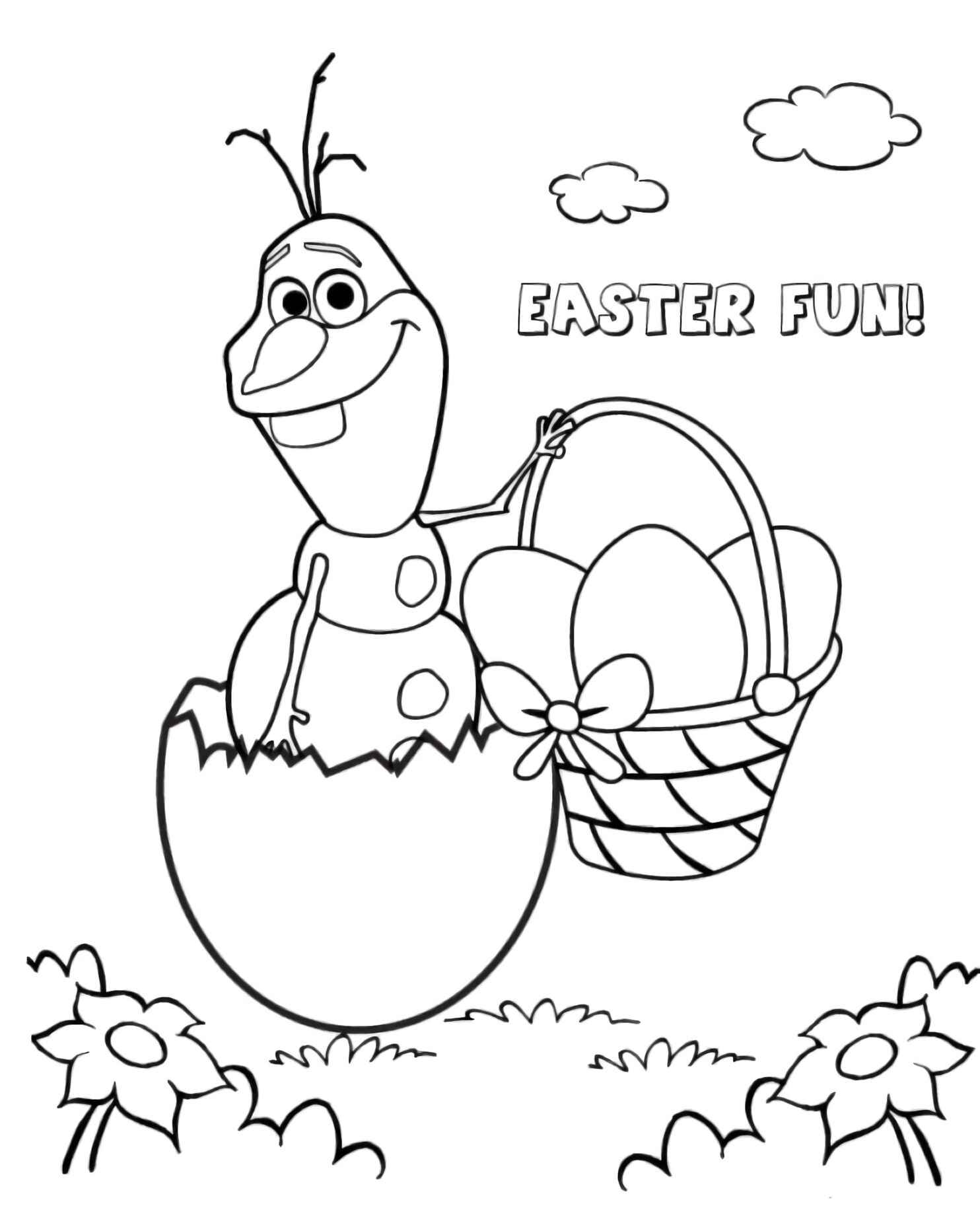 Olaf From Frozen With Easter Eggs Coloring Page