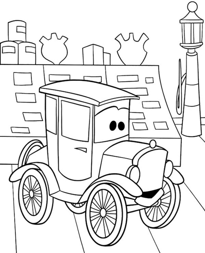 Old Lady Lizzie From Cars Coloring Page