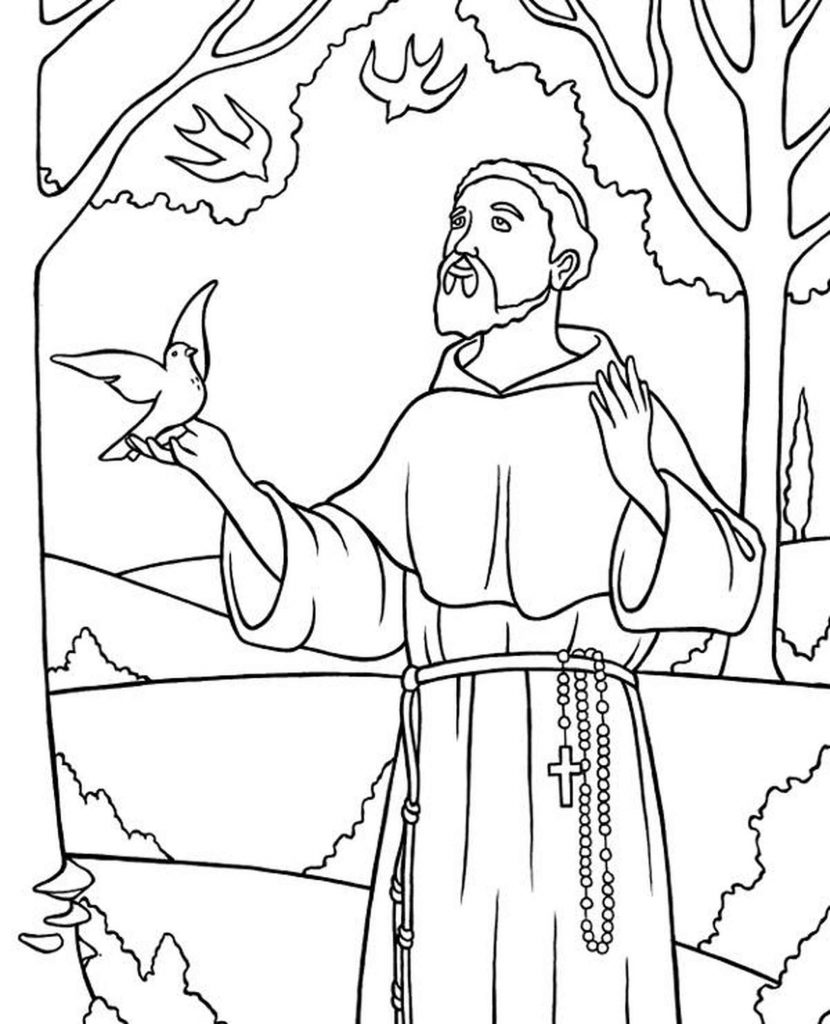 Padre In The Forest Coloring Sheet