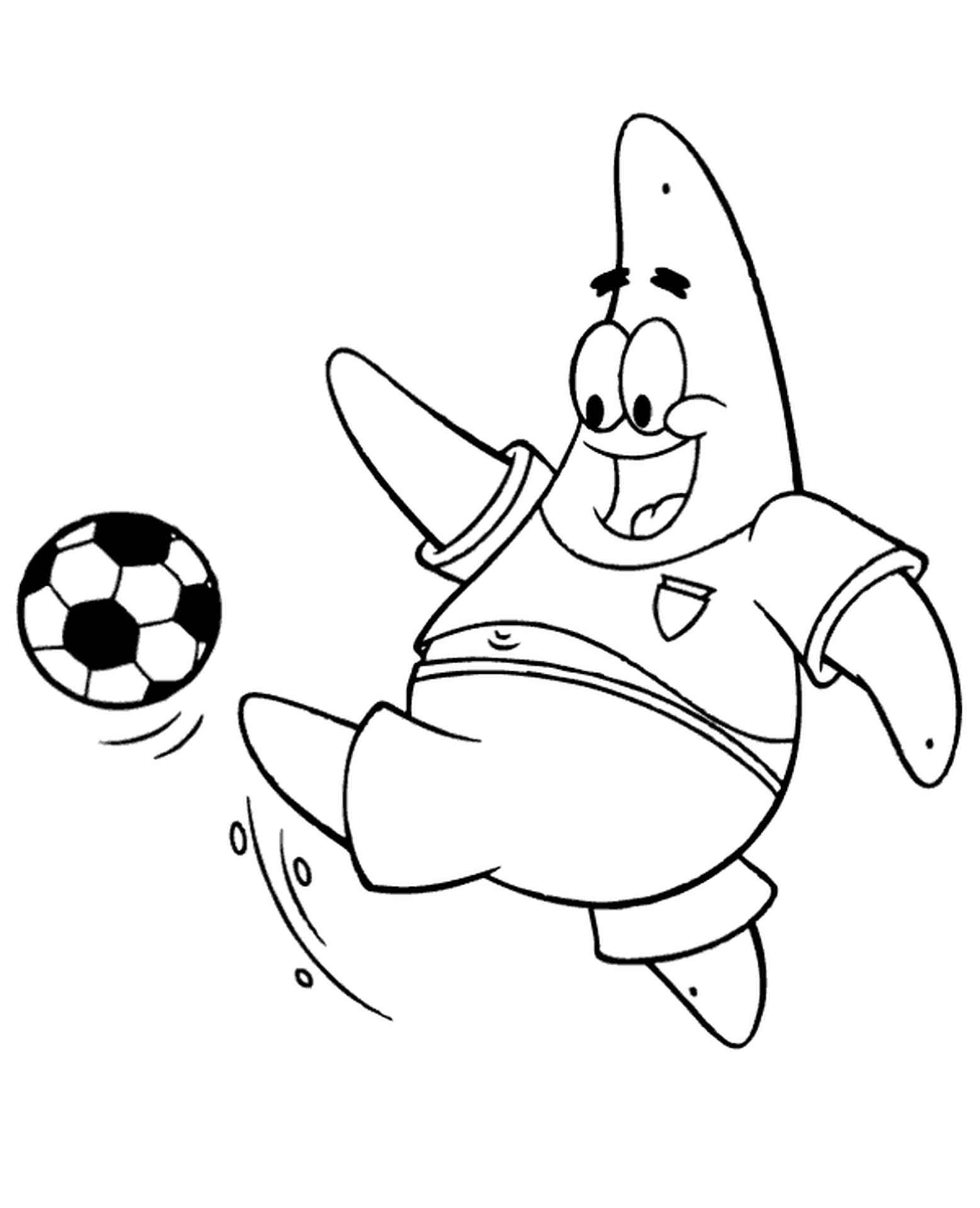 Patrick Plays Football From Spongebob Coloring Page