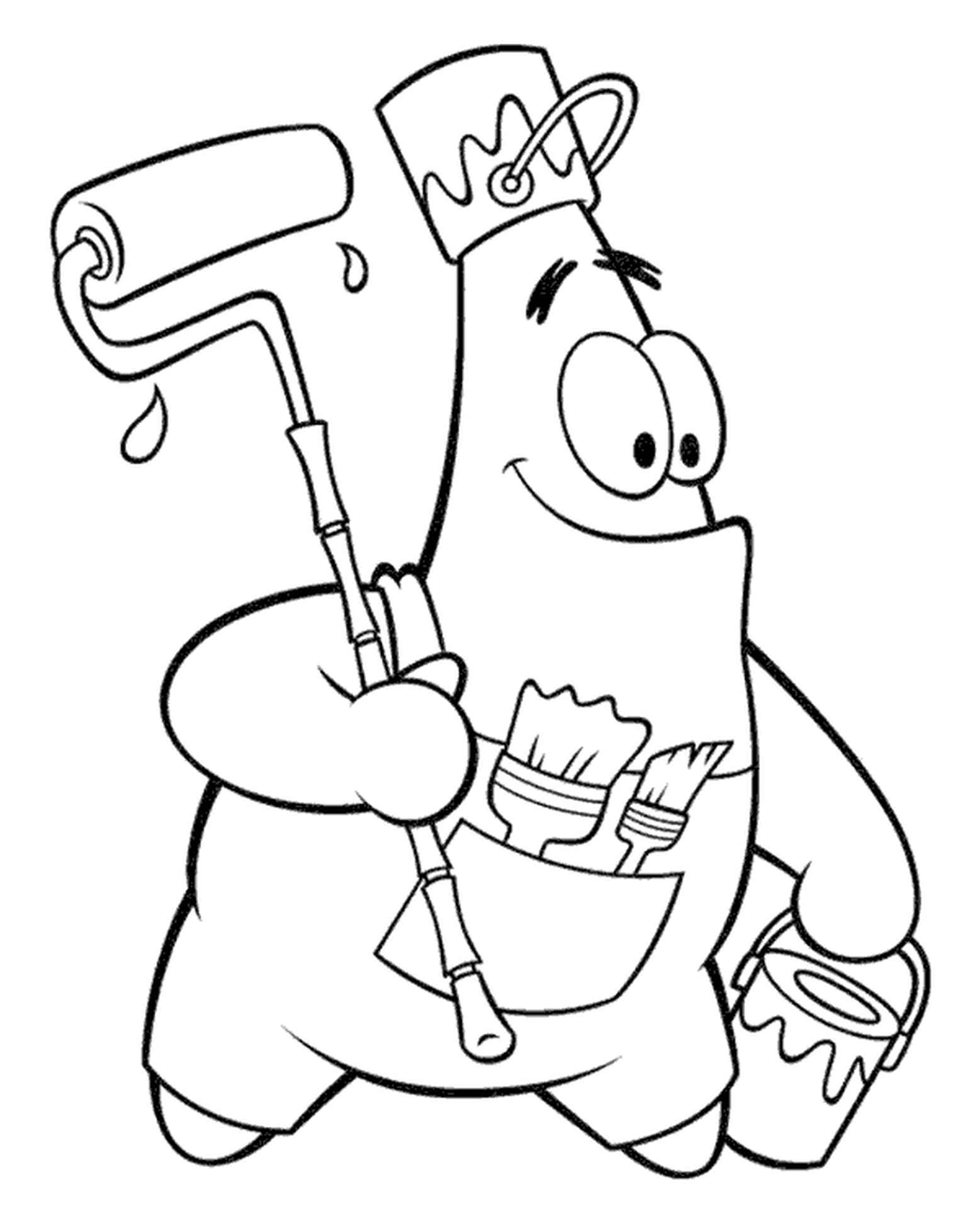 Patrick Works As A Painter In Spongebob Coloring Page