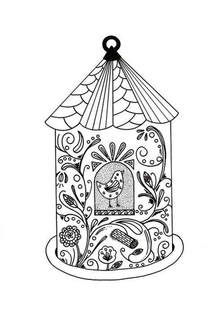 Patterned Birdhouse Coloring Page