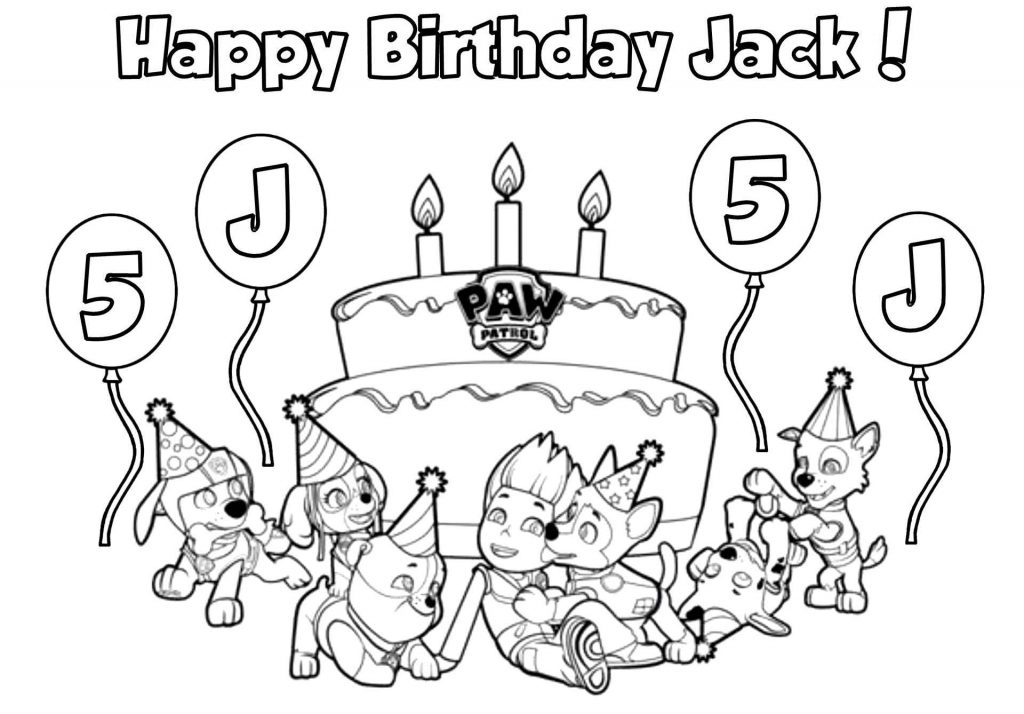 Paw Patrol Wishes Jack Happy Birthday Coloring Page