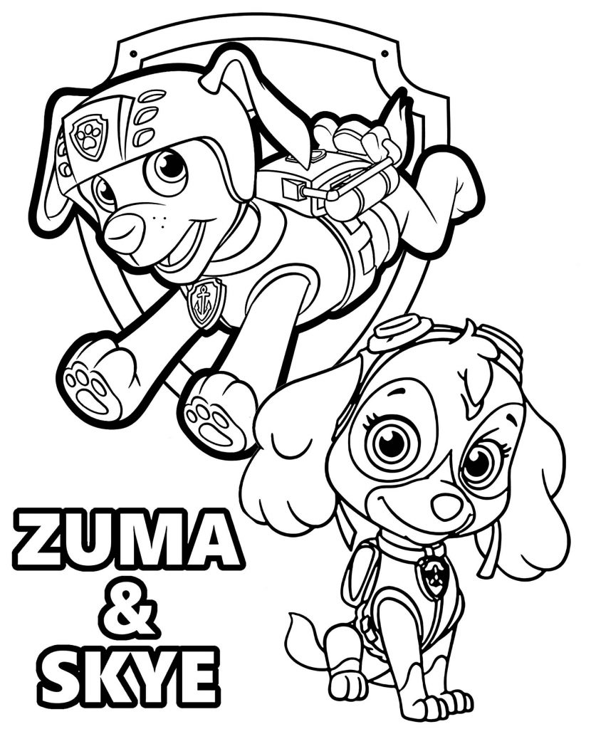 Paw Patrol Zuma And Skye Coloring Page