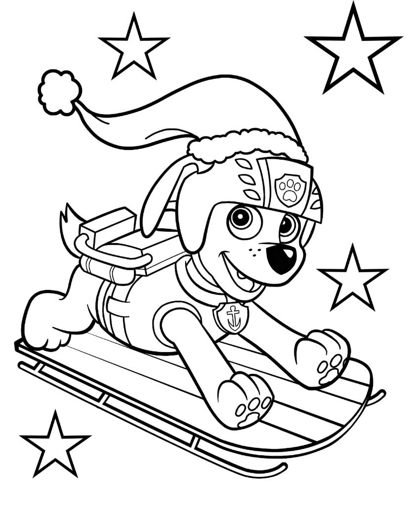 Paw Patrol Zuma On Sleigh Coloring Sheet