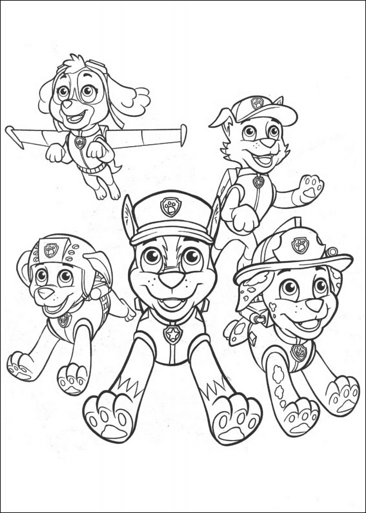 Pet Papaw Patrol Zuma, Marshal, Skye, Tracker And Chase All Togethertrolls Coloring Pages