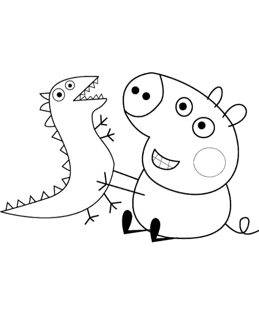 Pig George Plays With A Dinosaur