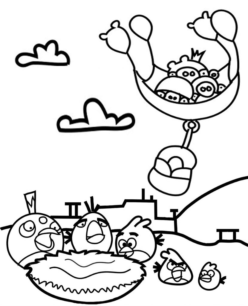 Pigs Steal An Egg From The Nest, Red, Bomb, Chuck Get Angry Coloring Page