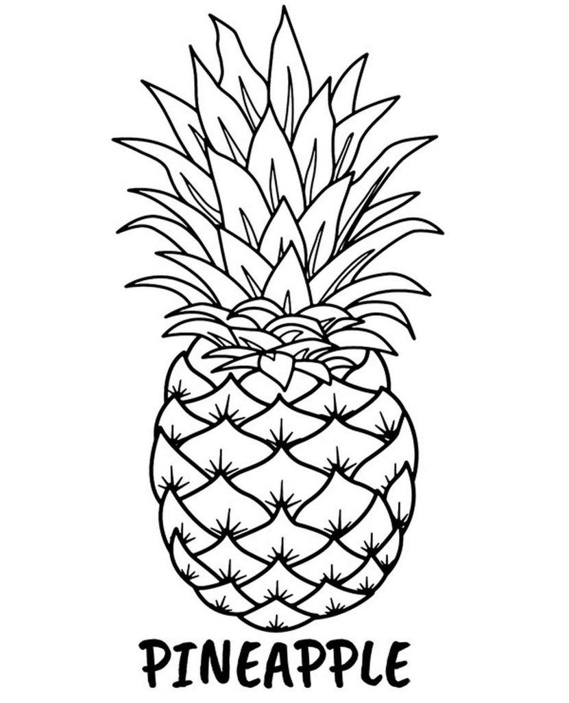 Pineapple Coloring Page For Kids