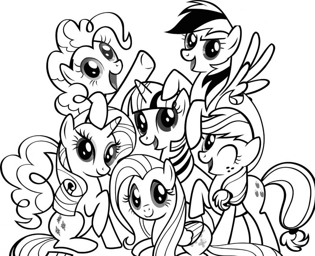 Pinkie Pie, Rainbowdash, Sparkle, Rarity, Fluttershy, Applejack All Together Coloring Image