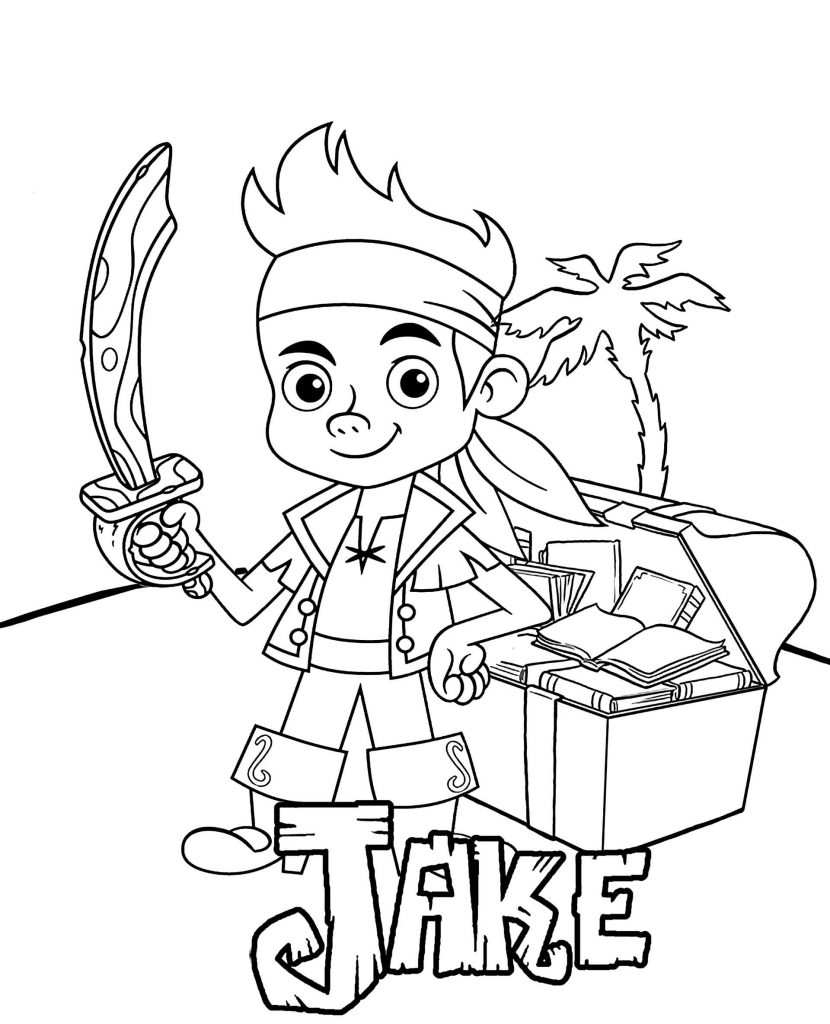 Pirate Jake With A Chest From Disney Cartoon Jake And The Neverland Pirates Coloring Page