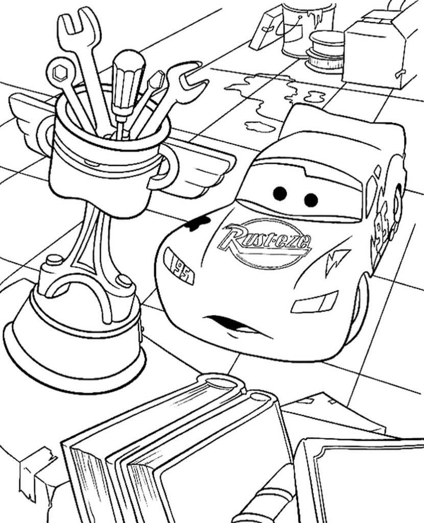Piston Cup And Mcqueen In The Cars Coloring Page