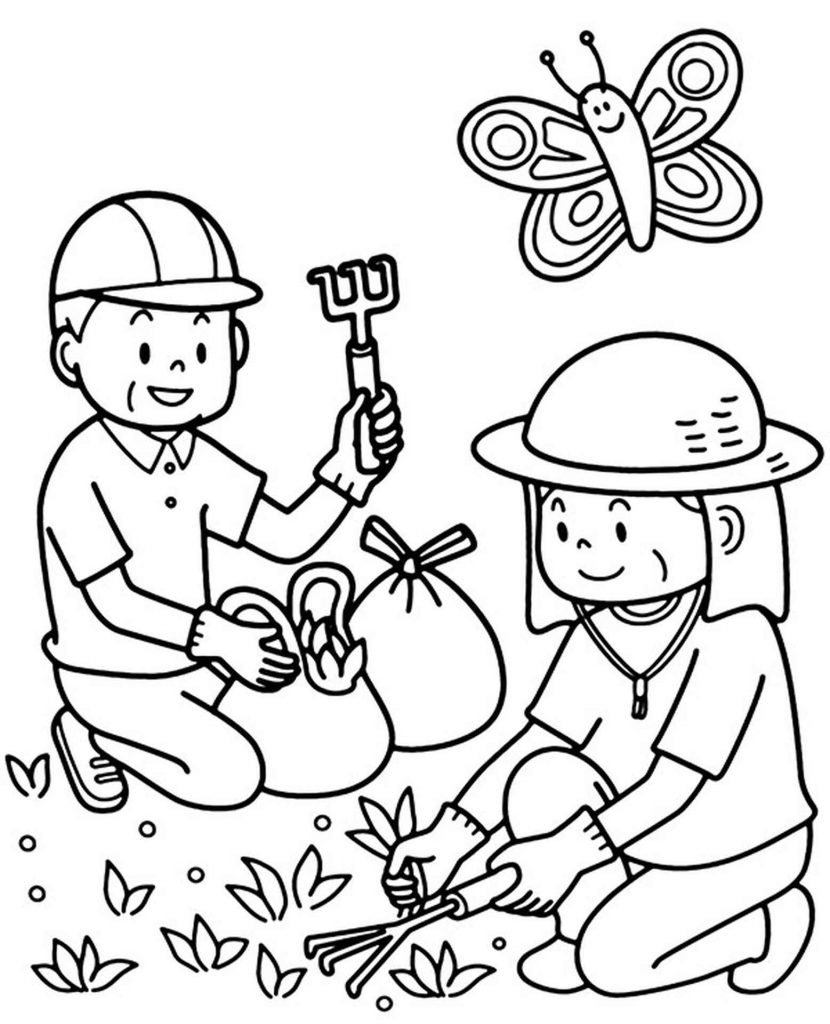 Planting Plants Coloring Page