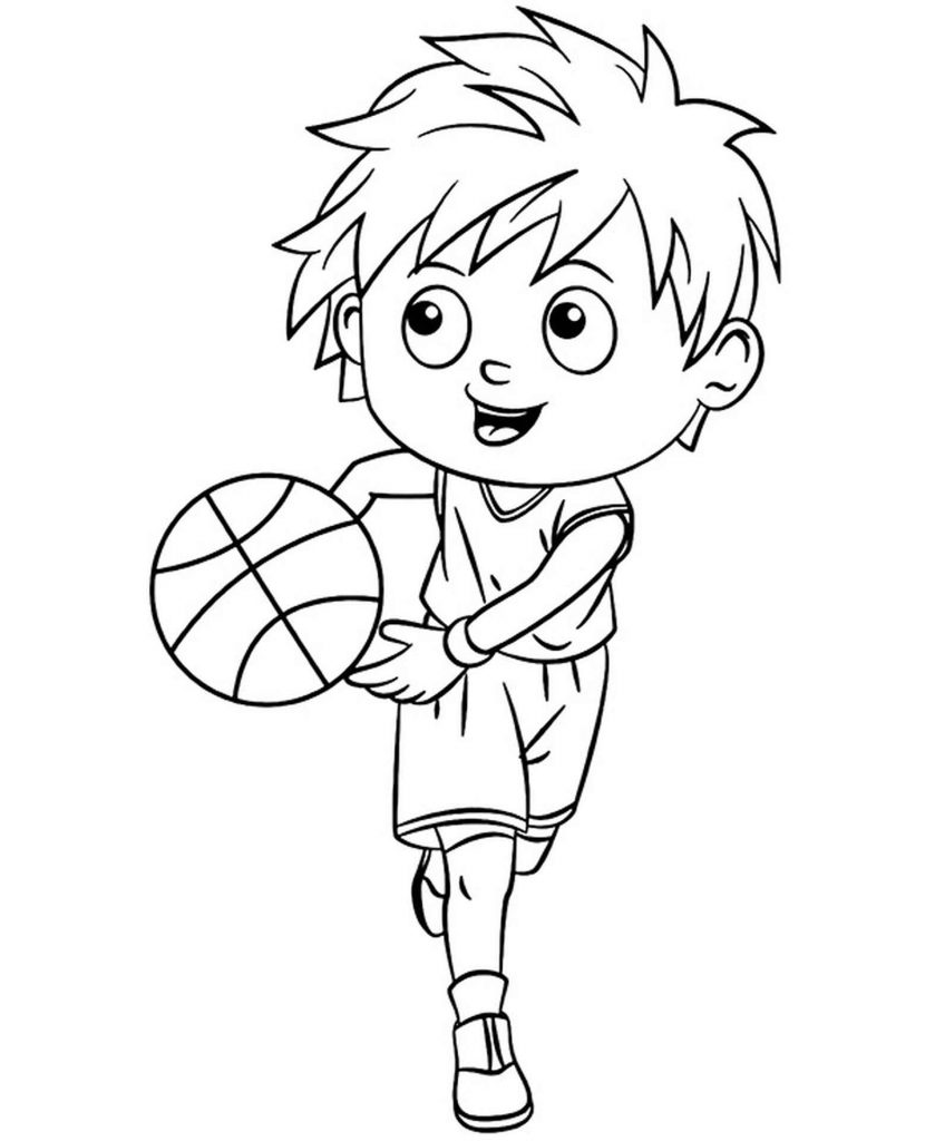 Playing Basketball With Friends Coloring Page