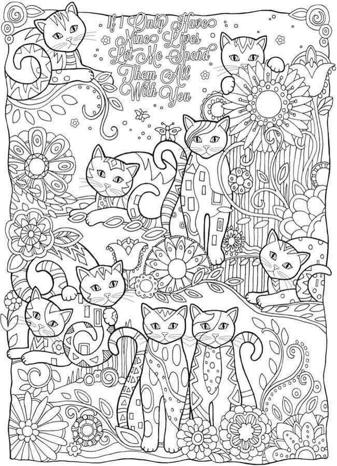 Plenty Of Cats Coloring Sheet For Adults