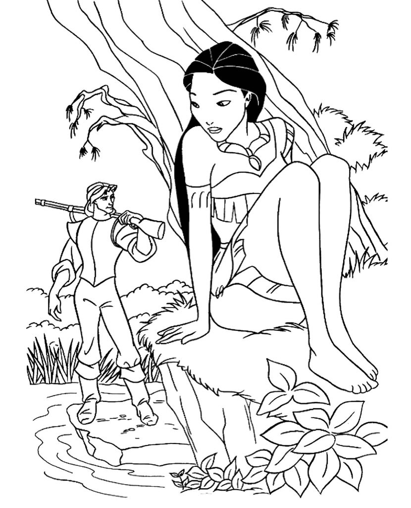 Pocahontas Hides Behind A Tree From John Smith Coloring Page