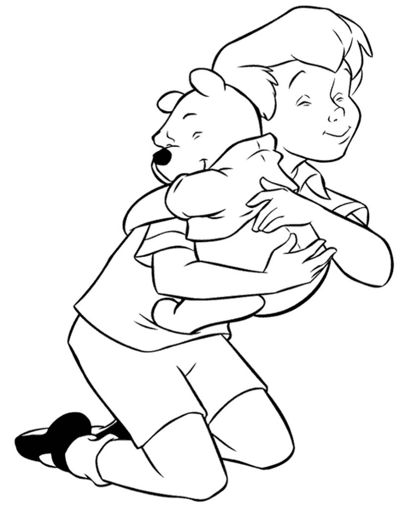 Pooh And Christopher Robin Coloring Pages