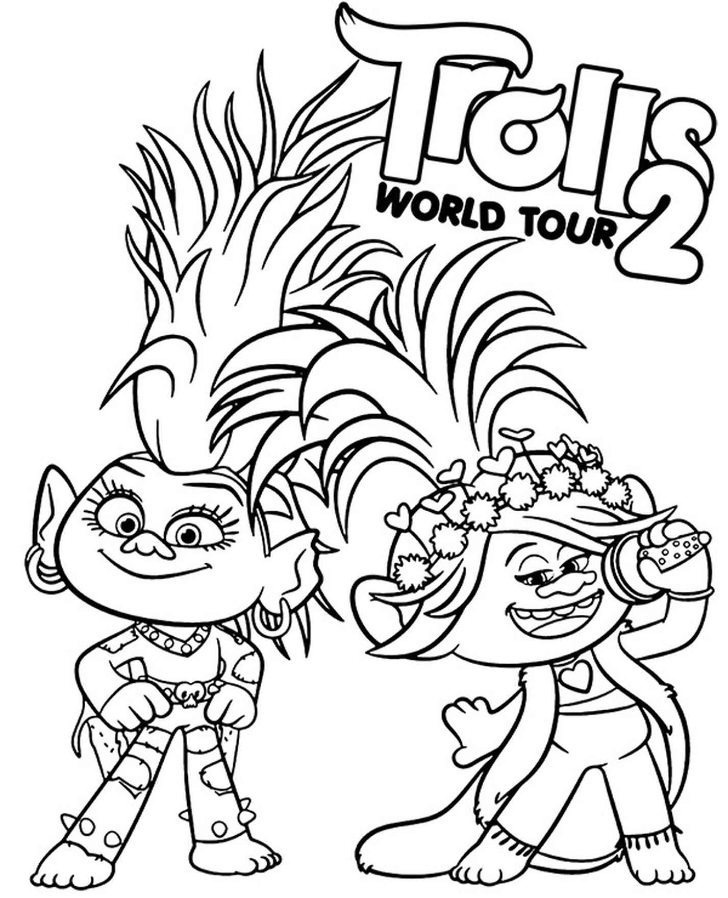 Poppy And Barb Coloring Page Trolls World Tour