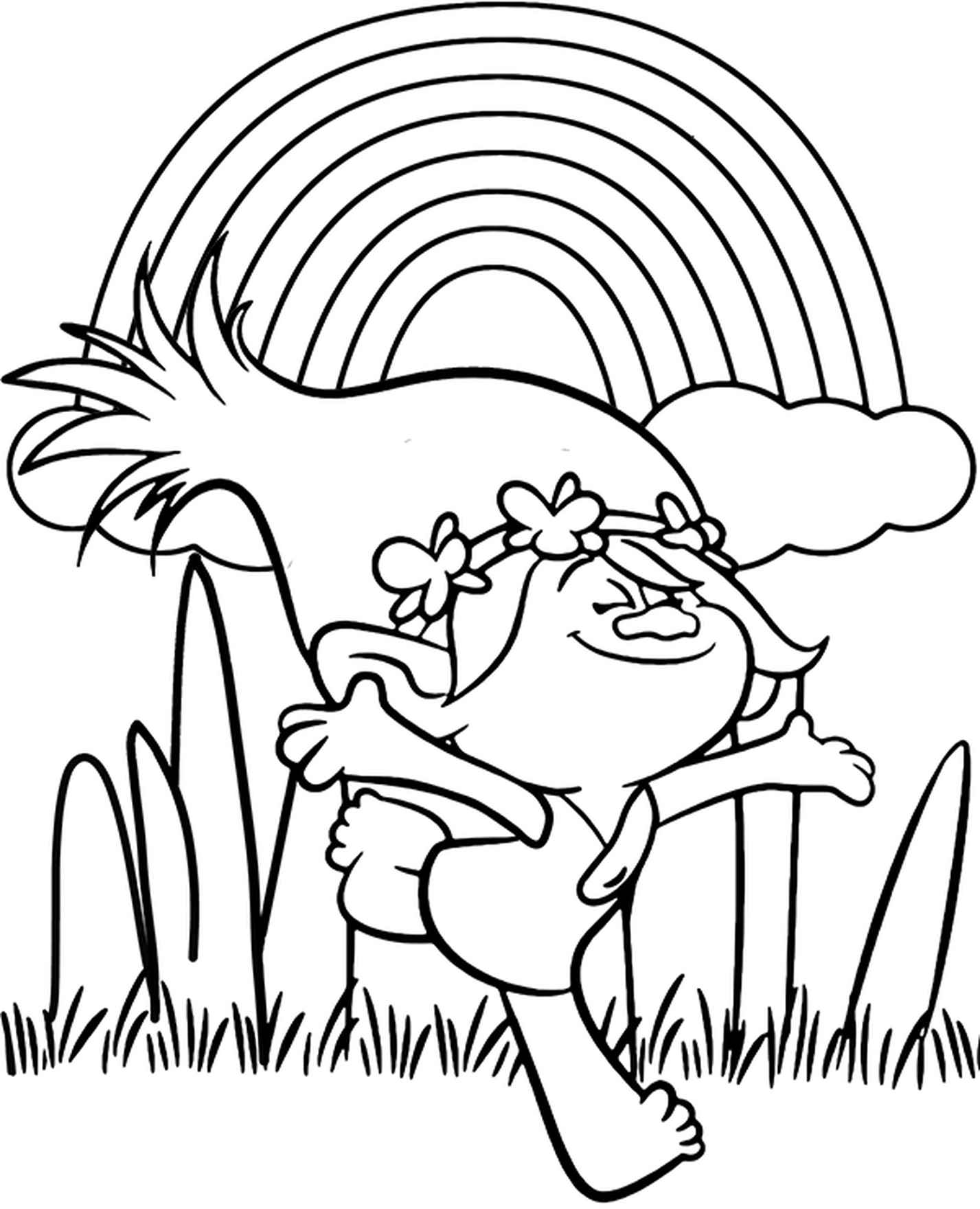 Poppy And Rainbow Coloring Page