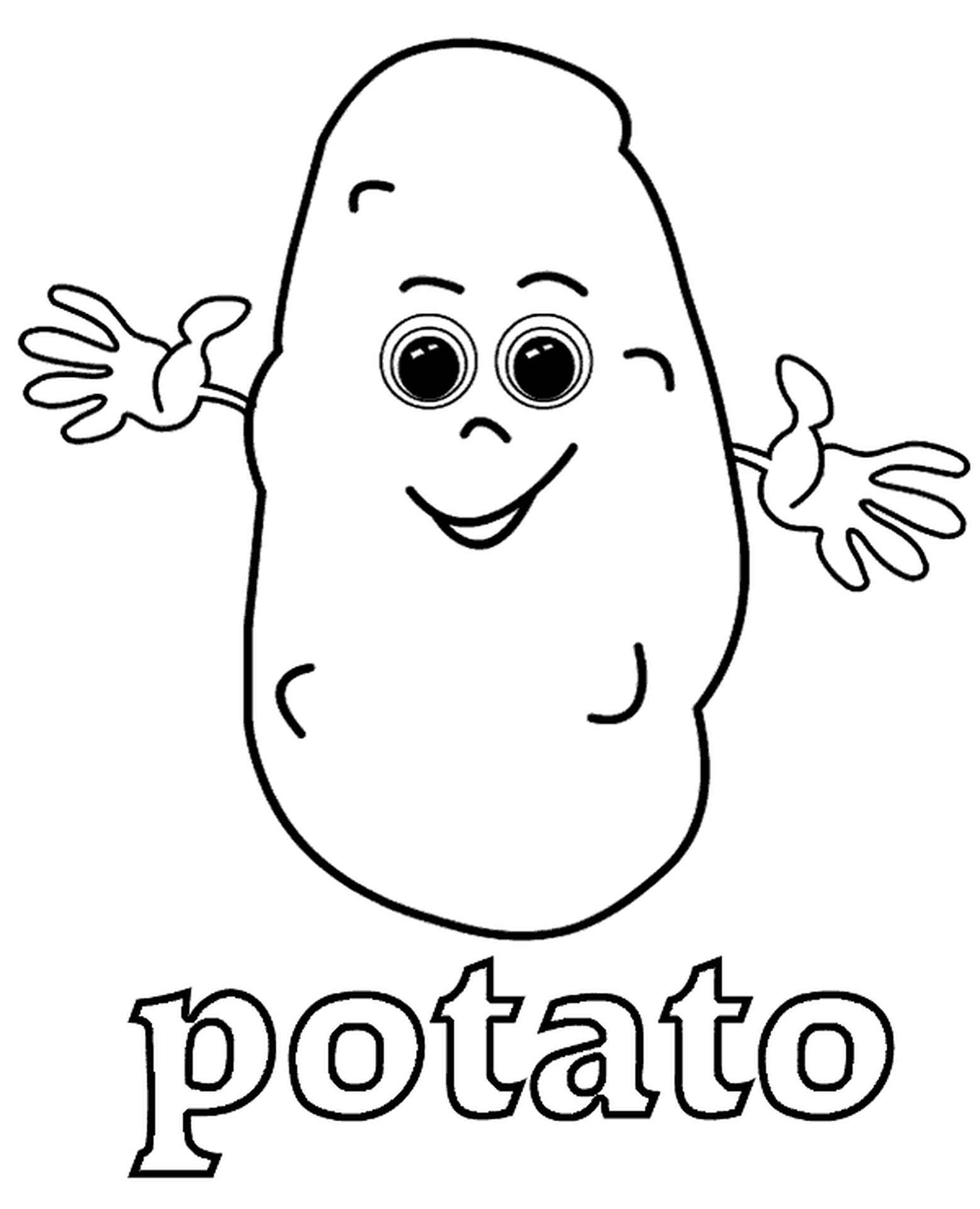 Potato Coloring Page For Kids
