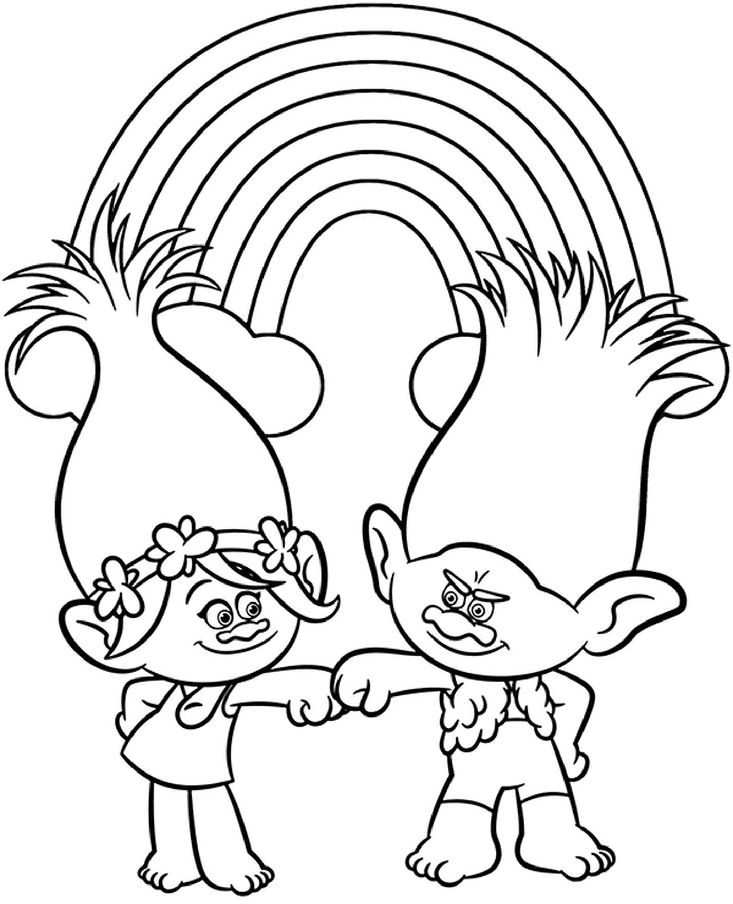 Princess Poppy And Branch Coloring Page