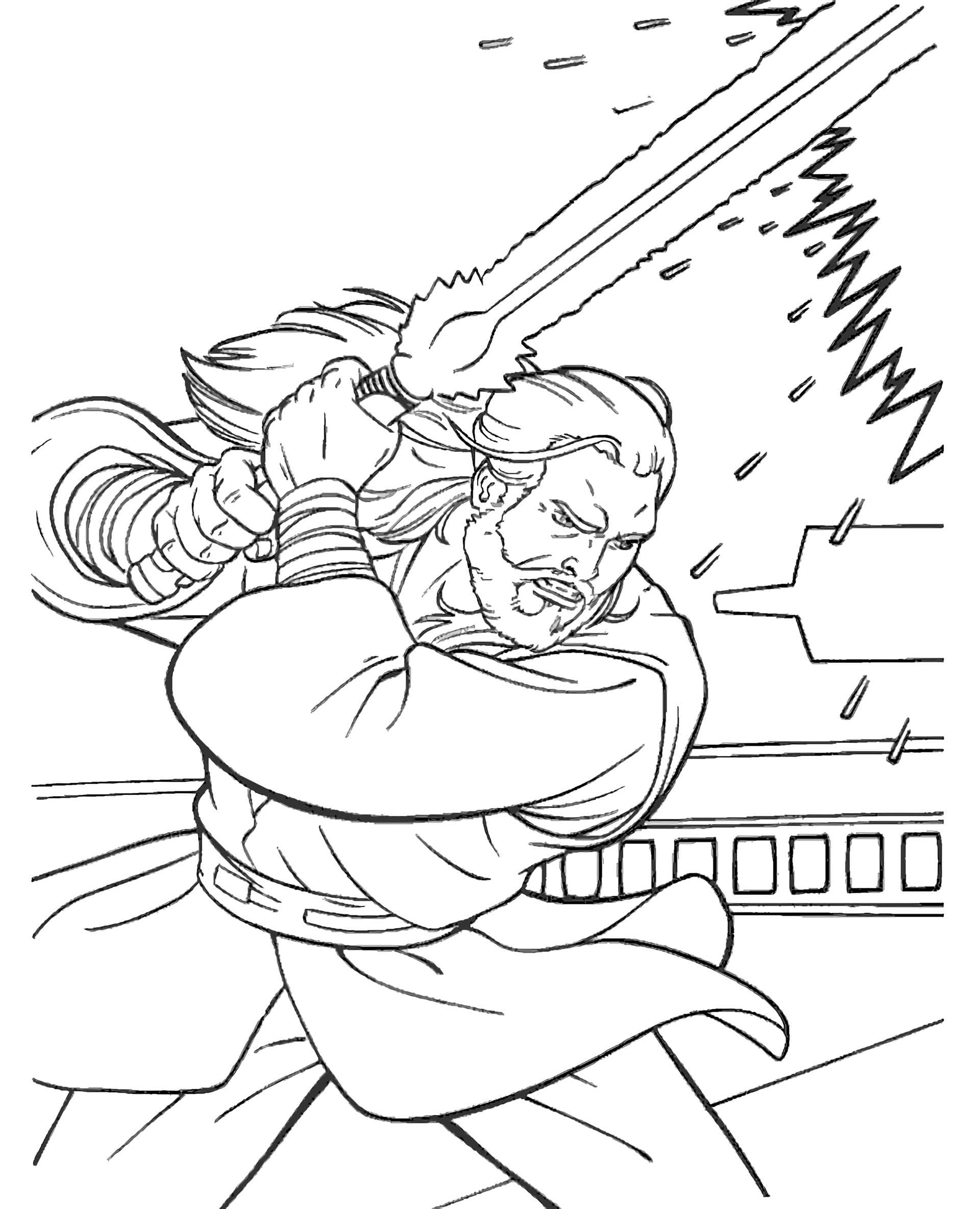 Qui Gon Jinn From Star Wars With A Jedi Sword Coloring Page