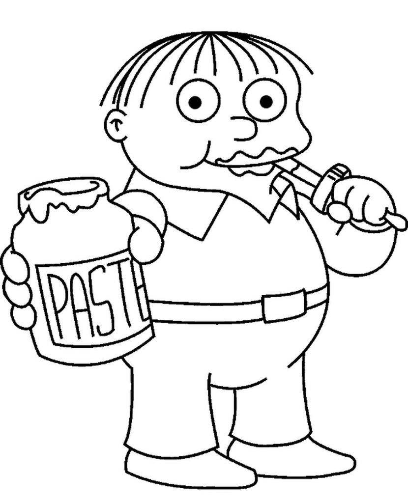 Ralph Wiggum Eating Pasta From The Simposons Coloring Page