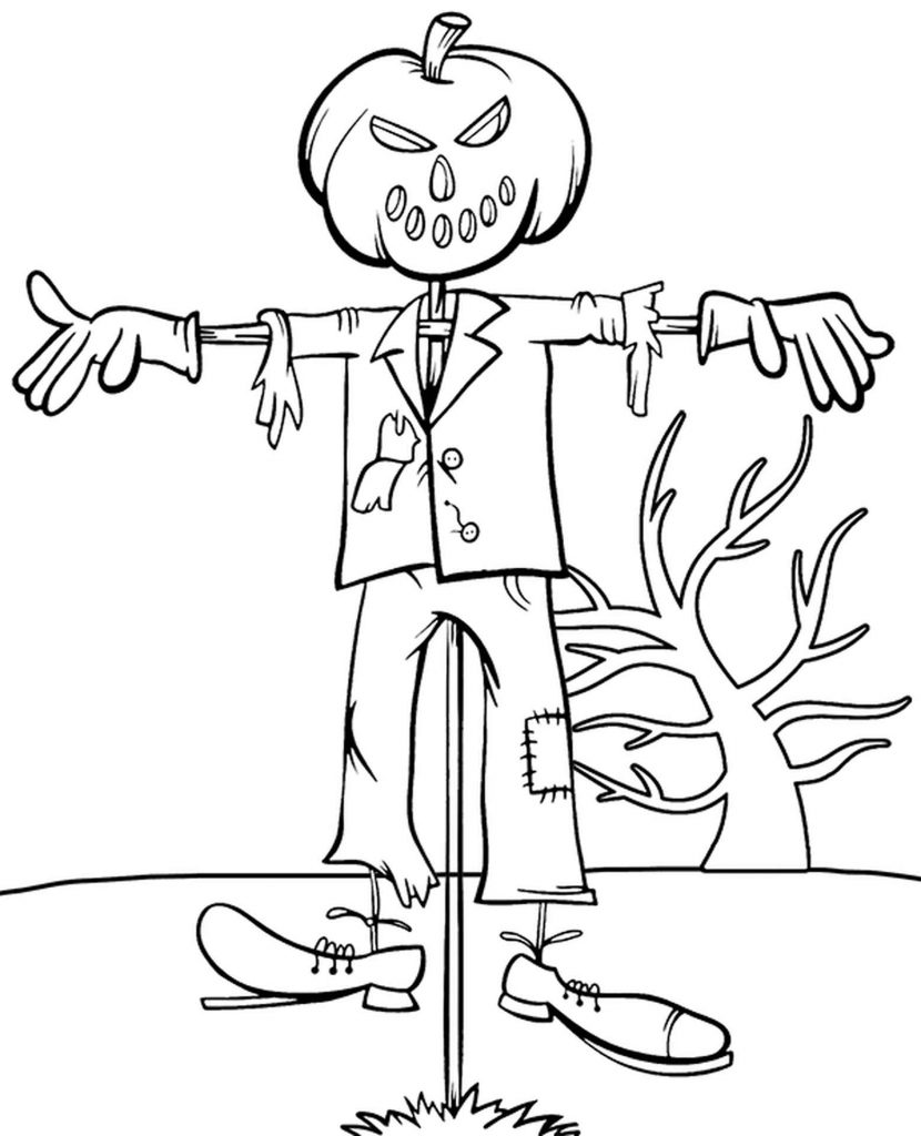 Really Scary Scarecrow Coloring Page