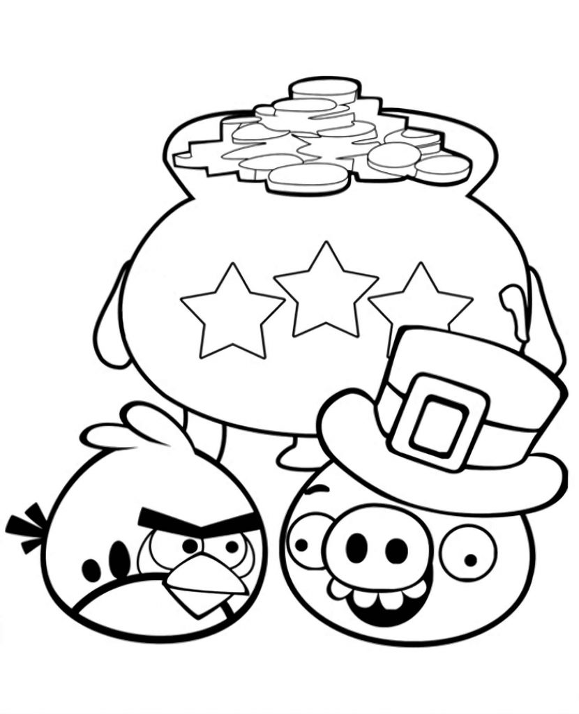 Red And Pig In The Hat From The Game Angry Birds Getting A Bag Of Gold Coins Coloring Page