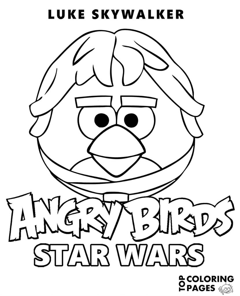 Red From Angry Birds In The Costume Of Luke Skywalker Coloring Page