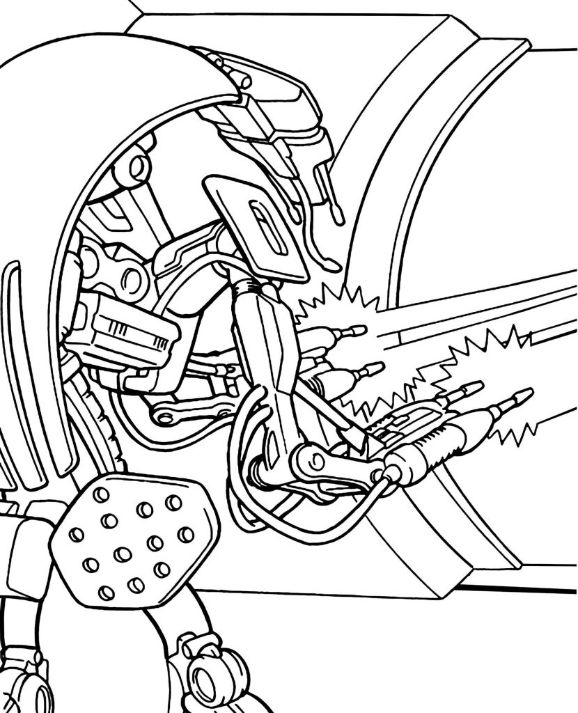 Robot Fighter From Star Wars Coloring Page