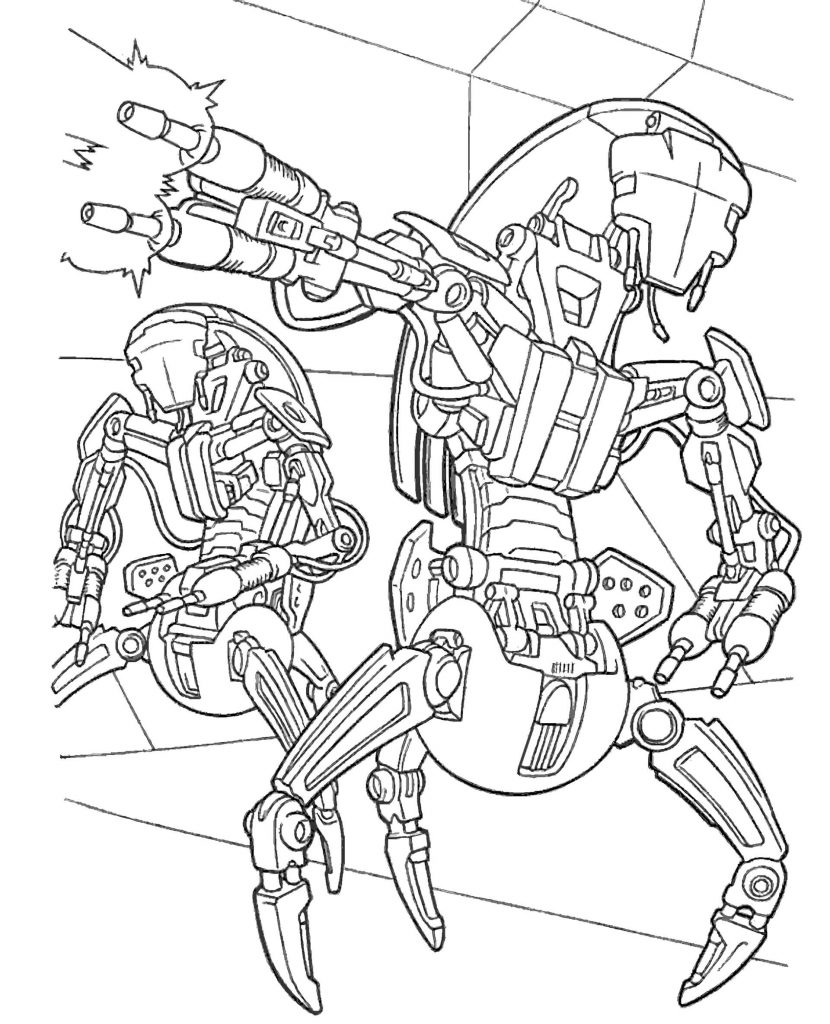 Robotic Fighters From Star Wars Coloring Page