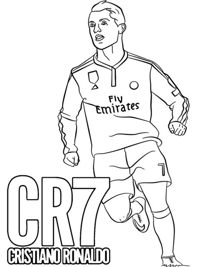 Ronaldo With An Inscription Сr7 Coloring Pages