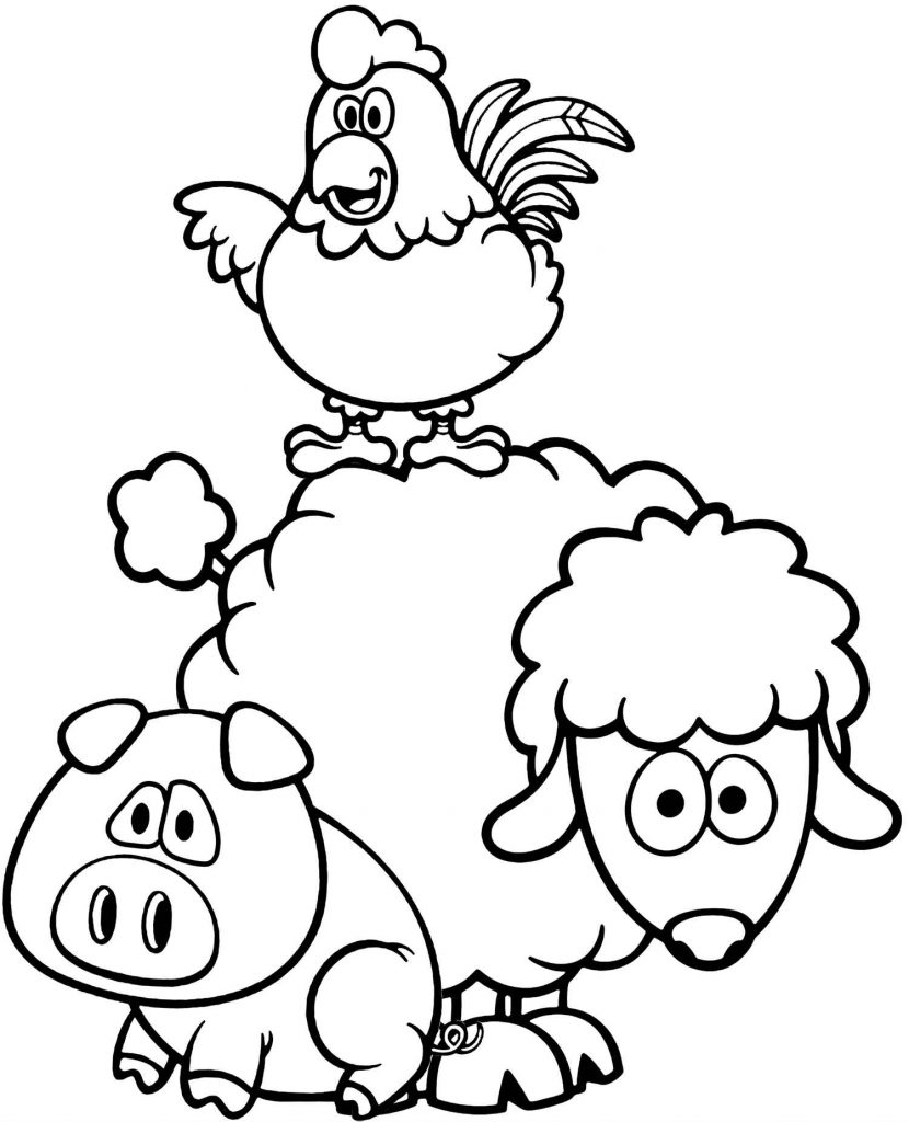 Rooster, Pig And Sheep Coloring Page