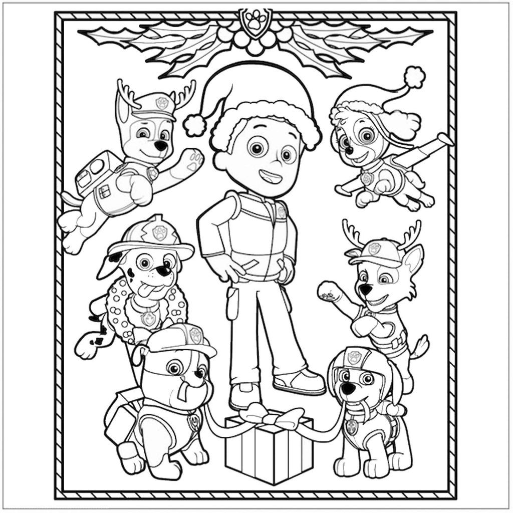 Ryder, Chase, Strong, Zuma, Marshall And Skye From Paw Patrol In Christmas Costumes Coloring Page