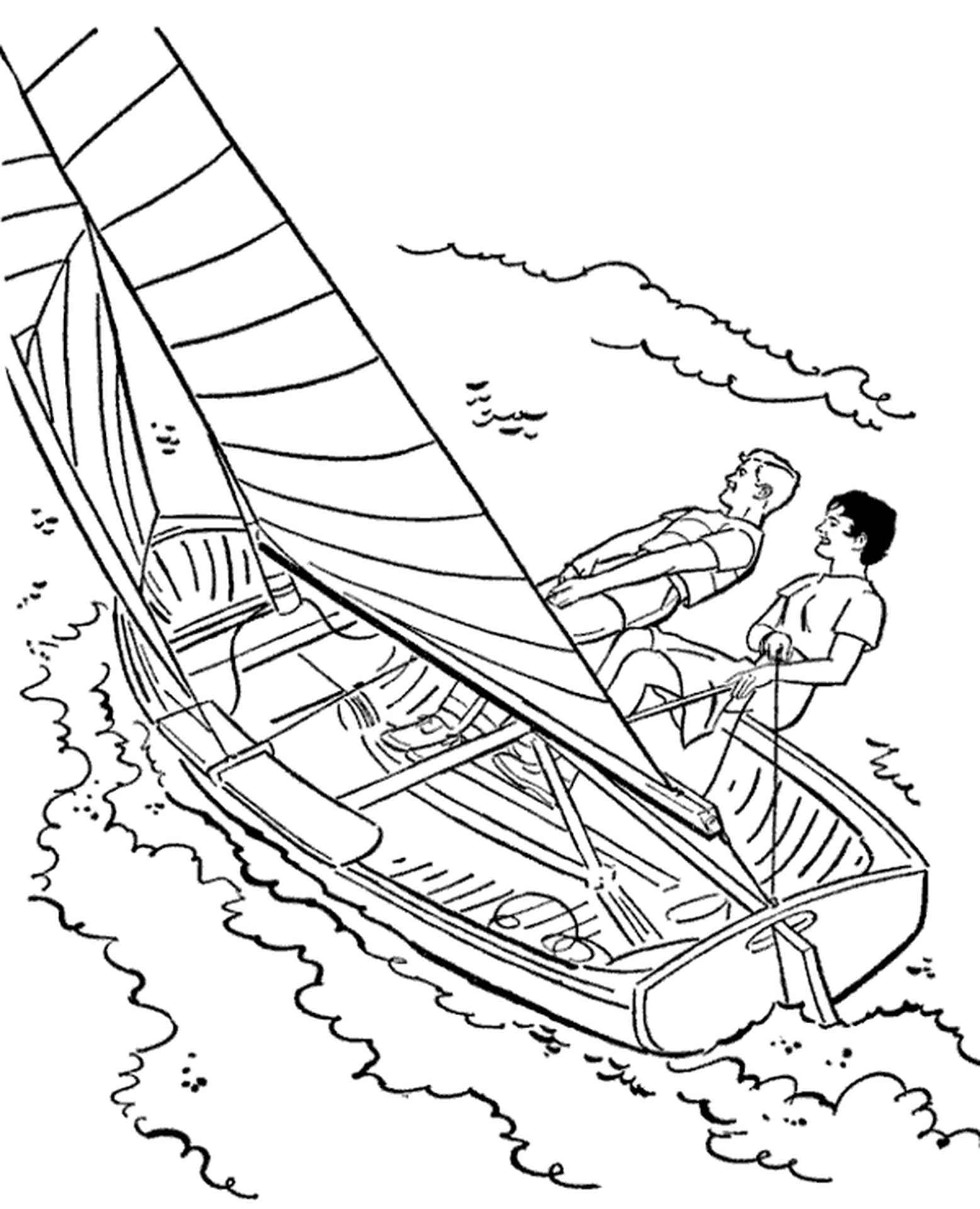 Sailboat On A Sea Coloring Page