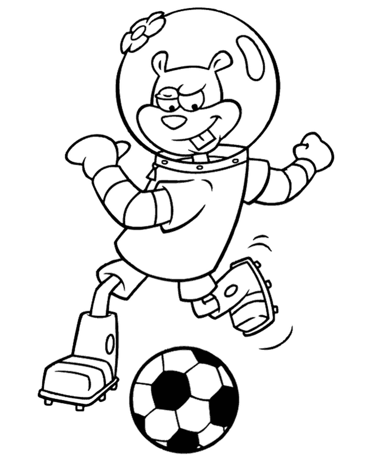 Sandy Plays Soccer Coloring Page