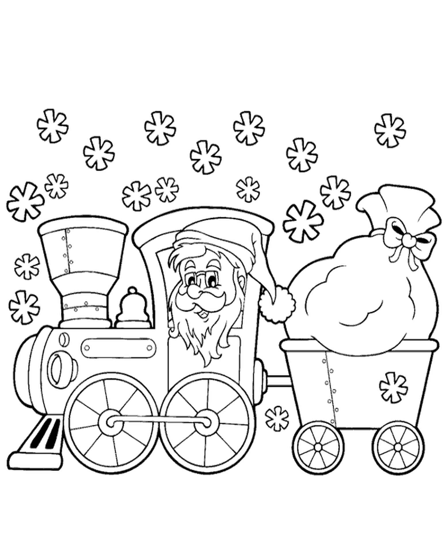 Santa With Presents Coloring Page For Winter
