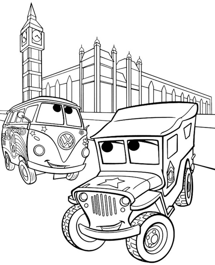 Sarge And Fillmore In London Coloring Page
