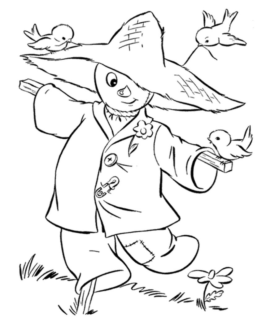 Scarecrow With Birds Coloring Page
