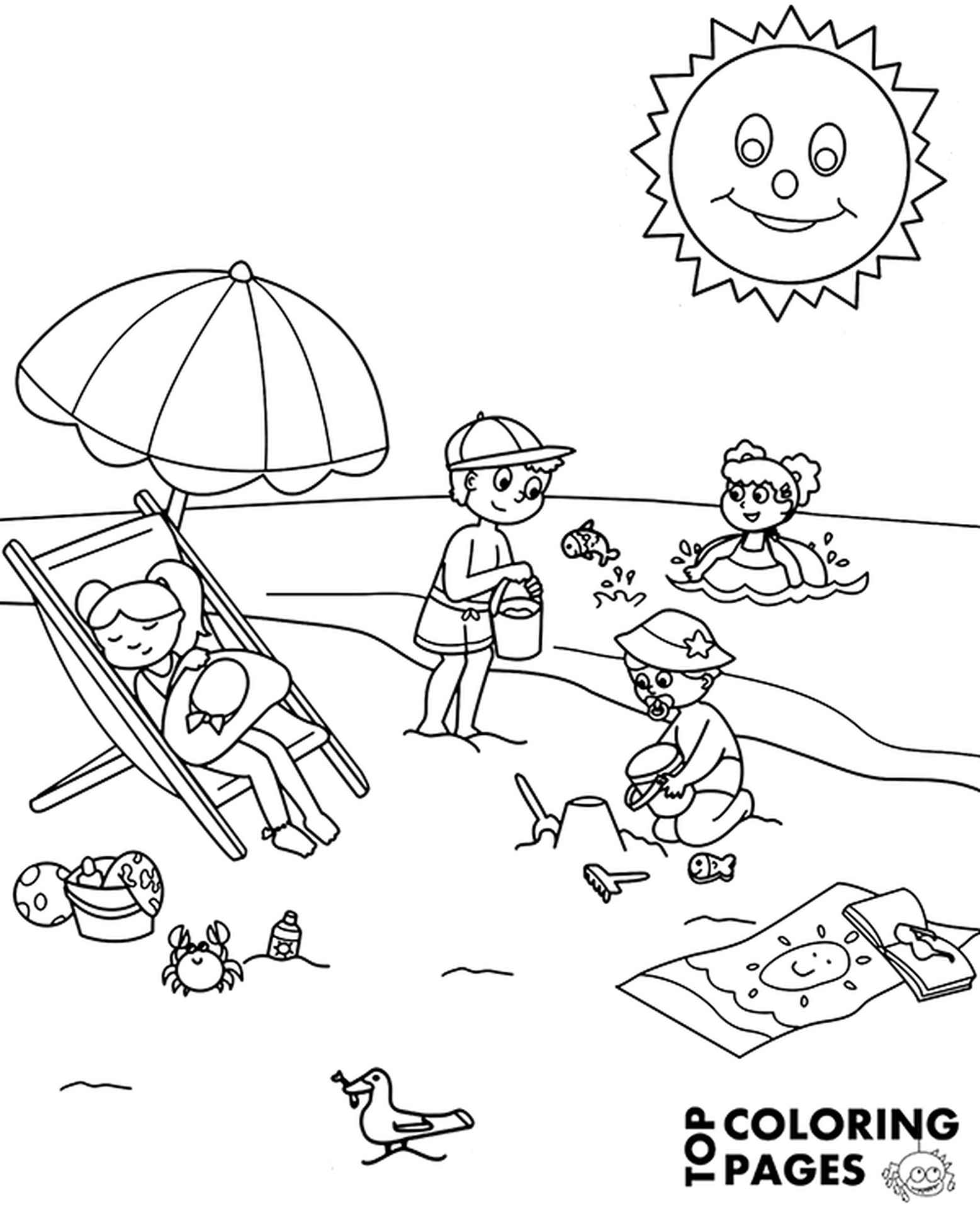 Sea Beach Free Coloring Page