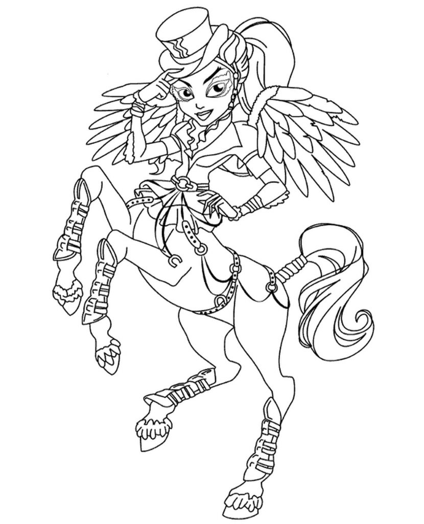 Self-Confident Aveya Trotter From Monster High Coloring Sheets