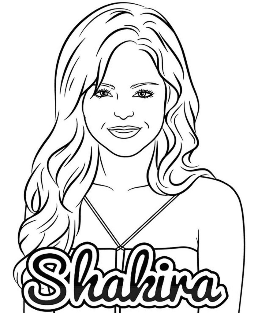Shakira Pop Star Coloring Page