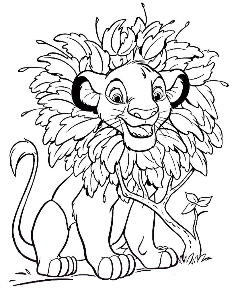 Simba From The Disney Movie The Lion King Fooling Around Coloring Page