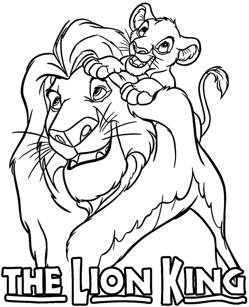 Simbo Rides On Mufasa's Mane In Disney's The Lion King Coloring Page