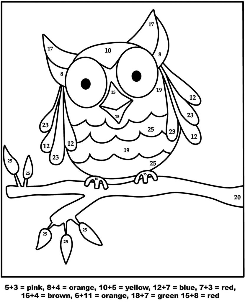 Simple And Easy Owl Color By Number Coloring Page