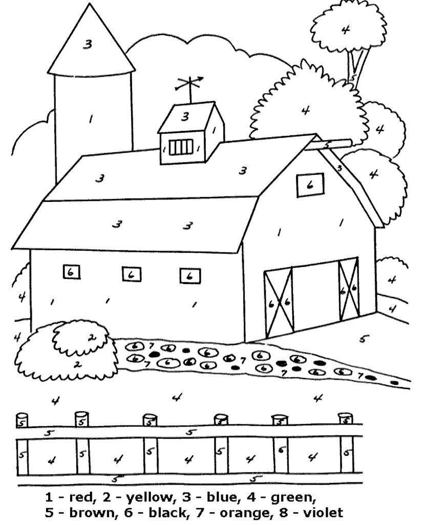 Simple Barn Color By Number Coloring Page