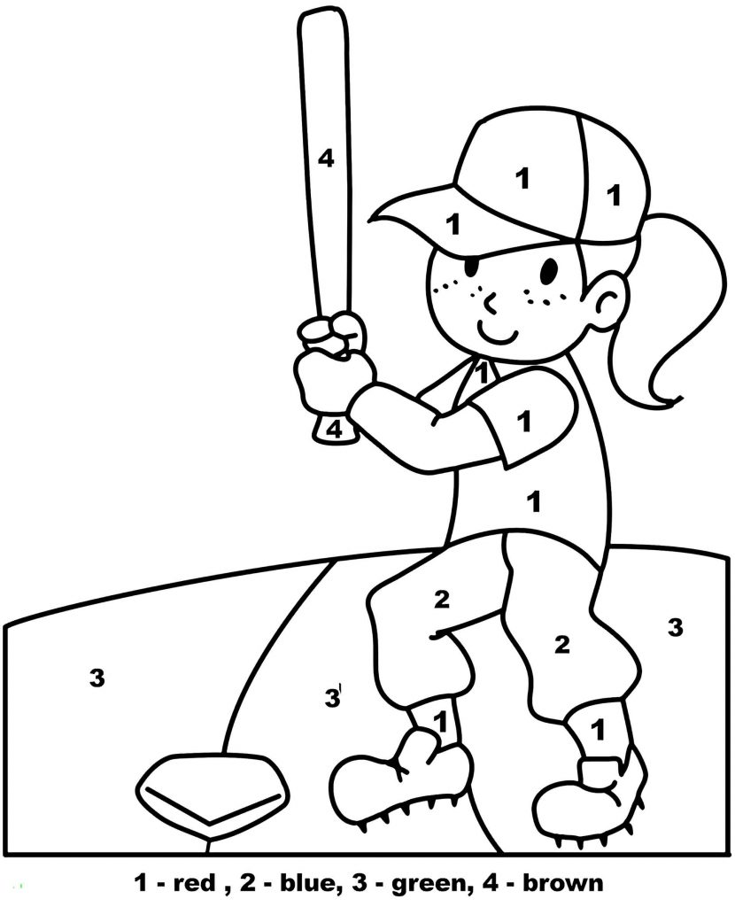 Simple Baseball Girl Color By Number Coloring Page