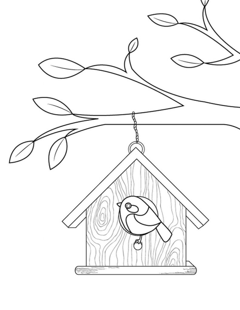 Simple Birdhouse Coloring Page